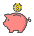piggy bank filled outline icon business finance vector image