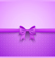 Romantic purple background with cute bow and vector image