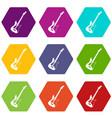 acoustic guitar icon set color hexahedron vector image vector image
