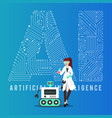 ai smart robot and scientist design vector image vector image
