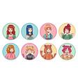 anime girls avatars color portraits cute manga vector image vector image