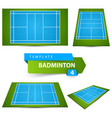 badminton field icon four items sport and life vector image vector image