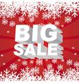big sale christmas with snowflakes over red backgr vector image