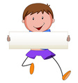 Boy holding blank banner vector image vector image