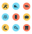 building icons set collection of equipment vector image vector image