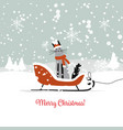 christmas card design sledge with santa cat vector image vector image