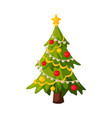 christmas fir tree with decorations traditional vector image