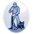 cleaner janitor vector image vector image