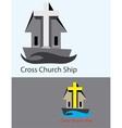Cross Church Ship Logo vector image vector image