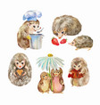 cute and funny hedgehogs cartoon animals vector image vector image