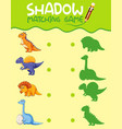 dinosaur matching shadow game template vector image vector image