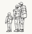father mother and son travelers vector image