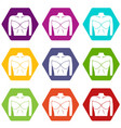 female breast in a bra icon set color hexahedron vector image vector image