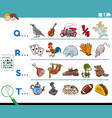 first letter a word cartoon educational task vector image