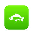 fish icon digital green vector image