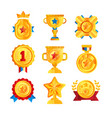 gold awards set various trophy and prize emblems vector image vector image