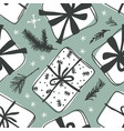 hand drawn christmas seamless pattern with gift vector image