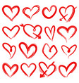 hand drawn red hearts rough doodle drawn heart vector image