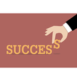 Hand inserts the last alphabet into success word vector image