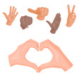 hands deaf-mute heart symbol different vector image vector image