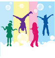 Happy kids on colored background vector image