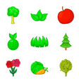 herb icons set cartoon style vector image vector image