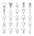 light bulbs lamp outline set vector image