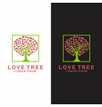 love tree abstract heart leaves vector image