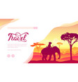 man on elephant against savanna landscape vector image