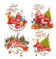 Merry Christmas banner set with Santa Claus vector image vector image