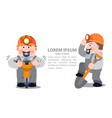 miners with a jackhammer and a shovel infographics vector image