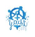 original blue emblem for yacht club hand drawn vector image vector image