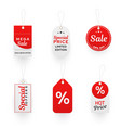 promo hang tags realistic templates set vector image