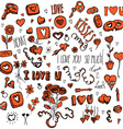 Red and black doodles for Valentines day vector image vector image