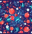seamless bright pattern pomegranates vector image vector image