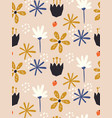 seamless floral pattern in scandinavian vector image