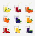 set fresh citrus fruit and berries juices vector image