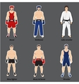 Set of different fighters in sports equipment vector image vector image