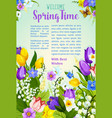 spring flowers blooming design poster vector image