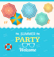 summer time banner with a beach umbrella vector image vector image