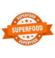 superfood ribbon superfood round orange sign vector image vector image