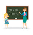 teacher and schoolgirl on the background of the vector image vector image