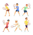 tennis players isolate on white background vector image