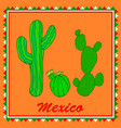 three green cactuses on orange background vector image vector image
