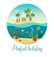 Underwater World Island Poster vector image