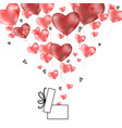 valentines 3d hearts with gift box postcard vector image