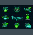 vegan green logo stickers set for vegan product vector image vector image