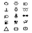 vehicle dash warning icons vector image