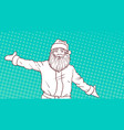 white sketch of santa claus on colorful pop art vector image