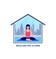 woman meditates at home vector image